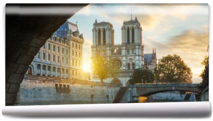 Fototapeta - Notre dame de Paris and Seine river in Paris, France
