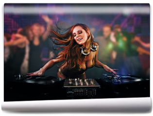 Fototapeta - Beautiful DJ girl