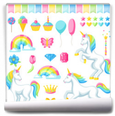 Fototapeta - Collection of unicorns and fantasy decorative objects