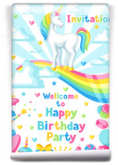 Fototapeta - Happy birthday party invitation with unicorn and fantasy items