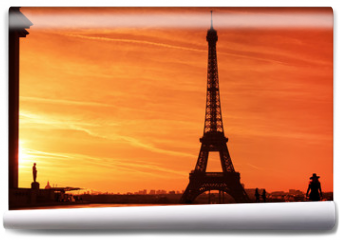 Fototapeta - Sunrise over Eiffel tower and tourist on Trocadero plaza