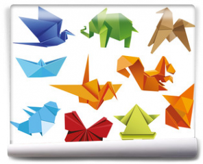 Fototapeta - Origami. A set of origami. Set origami butterfly, crane, frog, elephant, horse, ship, sparrow, fox, squirrel. Paper set origami. Vector illustration Eps10 file