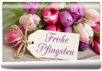 Fototapeta - Tulpen und Karte: Frohe Pfingsten