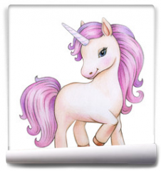 Fototapeta -  Cute unicorn cartoon, isolated on white.