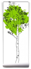 Fototapeta - Stylized birch tree with green crown and white trunk