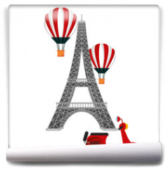 Fototapeta - tower eiffel paris scooter and hot air balloons vector illustration