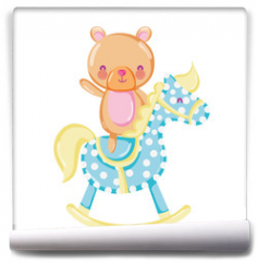 Fototapeta - bear teddy ride rocking horse