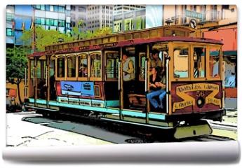 Fototapeta - comic image of cable car in san francisco