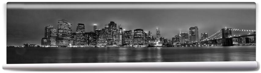Fototapeta - New York skyline Manhattan di sera in bianco e nero