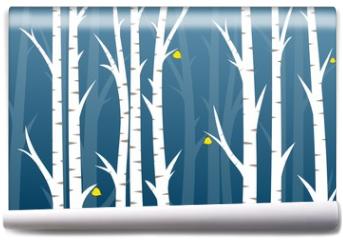 Fototapeta - Background with autumn birch wood.