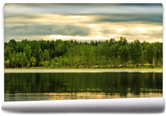 Fototapeta -  Landscape with forest and lake.