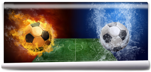 Fototapeta - Water drops and fire flames around soccer ball on the background