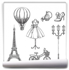 Fototapeta - Travel to France hand drawn isolated design elements. Paris sketch vector illustration