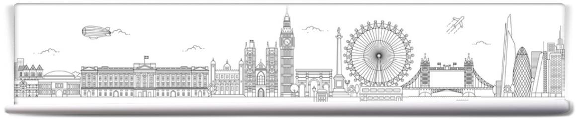 Fototapeta - London Thin Line Vector Skyline