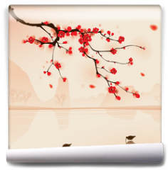 Fototapeta - oriental style painting, plum blossom in spring