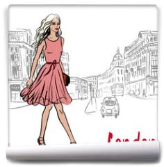 Fototapeta - Woman walking in London