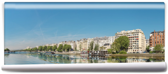 Fototapeta - Panoramic image of Paris modern architecture in Paris with and Seine river