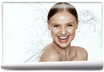 Fototapeta - Beauty. Woman With Water On Face And Body. Spa Skin Care