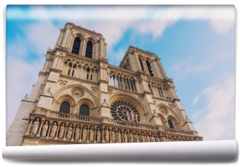 Fototapeta - Notre Dame de Paris, amazing medieval cathedral church, one of the most famous tourist attraction in France, long exposure shot