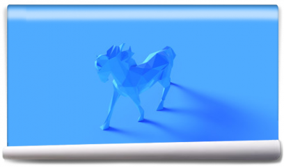 Fototapeta - Blue Polygon Horse 3d illustration 3d rendering