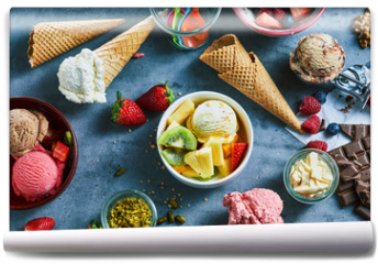 Fototapeta - Flat lay of assorted ice cream with ingredients