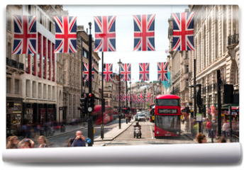 Fototapeta - Red double decker at Piccadilly Circus in London