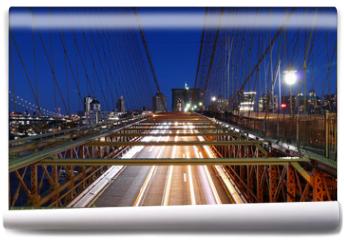 Fototapeta - New York skyline, Brooklyn Bridge traffic at night, Manhattan buildings and skyscrapers