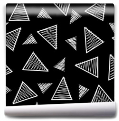 Fototapeta - Black and white triangle geometric pattern, memphis style inspired. Monochromatic line art, black background. Vector seamless pattern tile.
