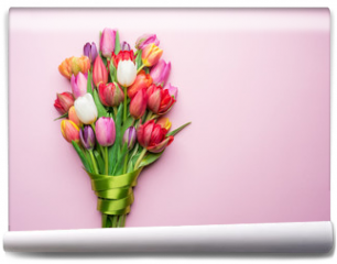 Fototapeta - Colorful bouquet of tulips on white background.