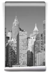 Fototapeta - Black and white picture of New York City modern skyline, USA.