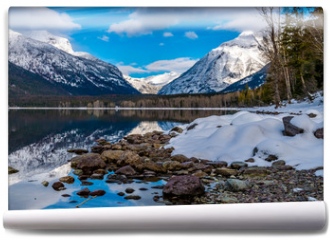 Fototapeta - Mount Cannon to the Right and Mount Vaugh to the Left, in Glacier National Park.
