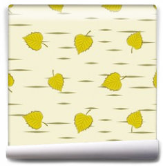 Fototapeta - Seamless background with birch leaves.