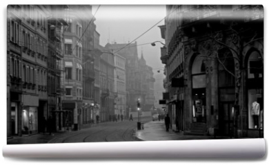 Fototapeta - old town on misty morning