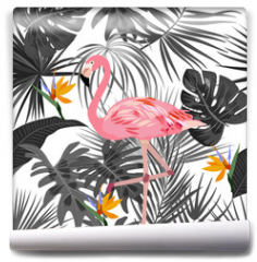 Fototapeta - Tropical vector seamless pattern with flamingo.