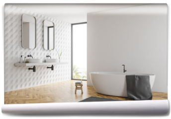 Fototapeta - White bathroom corner, tub and sinks