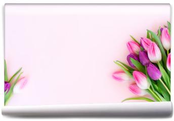 Fototapeta - Pink fresh tulips