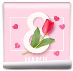Fototapeta - Womens Day 8 March design template. Decorative number eight with eed tulips. Vector illustration