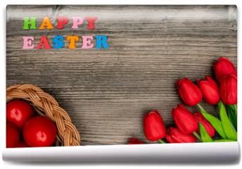 Fototapeta - Easter eggs and red tulips