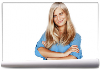 Fototapeta - Young beautiful girl woman blond with long hair and blue eyes in a blue shirt isolated white background