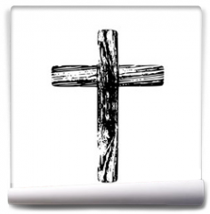 Fototapeta - Wooden cross on a white background
