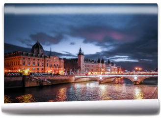 Fototapeta - Paris at Night- Bridge, Palace and Island of city