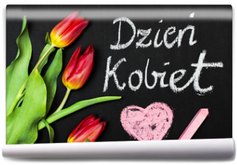 """Fototapeta - Women's Day card and a bouquet of beautiful tulips on blackboard background, with Polish words """"Women's Day"""""""