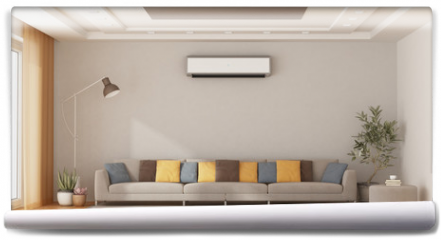 Fototapeta - Modern living room with sofa and air conditioner