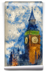 Fototapeta - Watercolor painting of Big Ben at twilight witth lights making architecture glow in the coming darkness