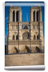 Fototapeta - Paris, France - 03 10 2019: Façade of Notre-Dame of Paris. Archeological crypt