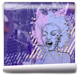 Fototapeta - jazz singer on grunge background