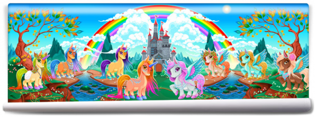 Fototapeta - Groups of unicorns and pegasus in a fantasy landscape