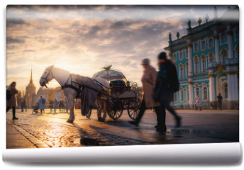 Fototapeta - Horse coach at Palace Square near Hermitage museum. Saint Petersburg, Russia in the sunset