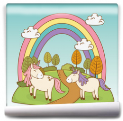Fototapeta - cute fairytale unicorns with rainbow in the landscape