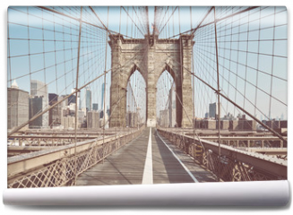Fototapeta - Retro toned picture of the Brooklyn Bridge, New York, USA.